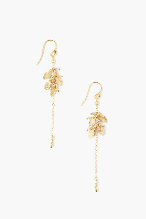Gold Mix Leaf Charm Earrings