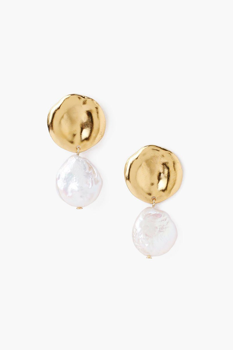 Two Tiered White Keshi Pearl Earrings