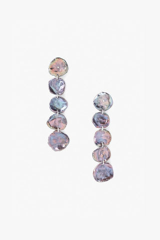 Grey Floating Pearl Drop Thread Thru Earrings