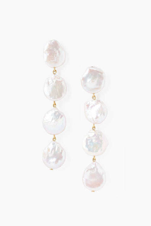 Four Tiered White Keshi Pearl Earrings