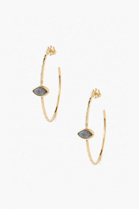 Labradorite Evil Eye Hoop Earrings