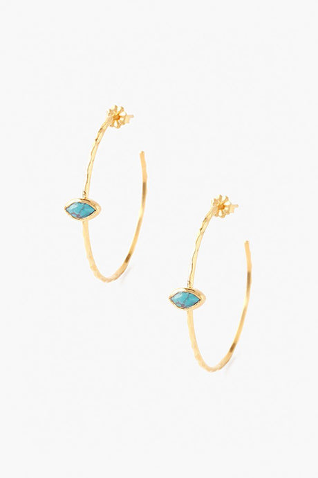 Turquoise Evil Eye Hoop Earrings