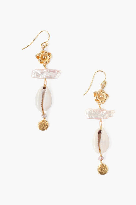 Tiered Pink Mix Pearl and Cowry Shell Earrings