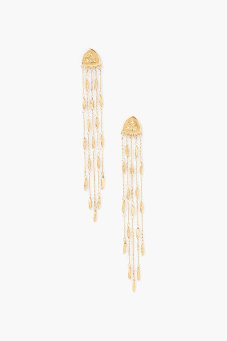 Yellow Gold Squash Blossom Chain Earrings