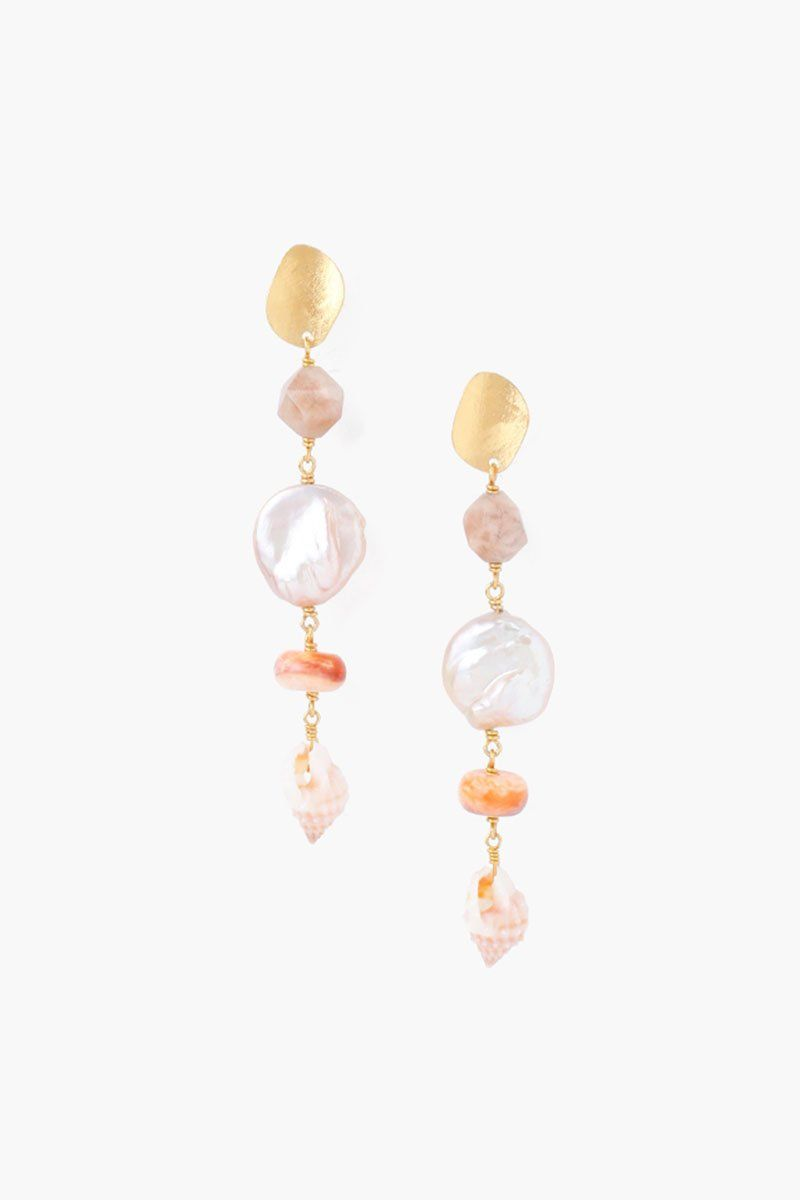 Tiered Pink Pearl Sea Charm Earrings