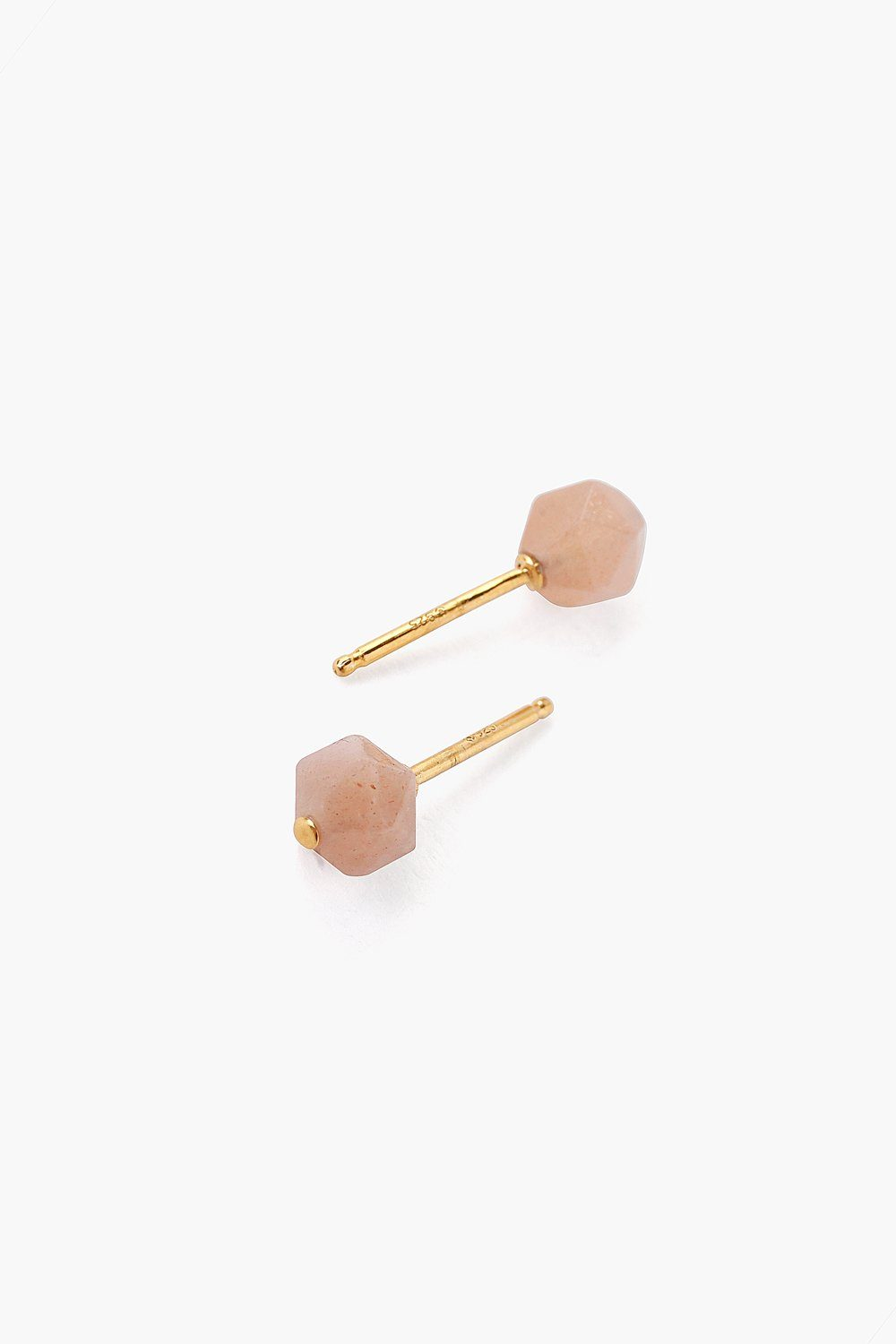 Peach Moonstone Starcut Stud Earrings