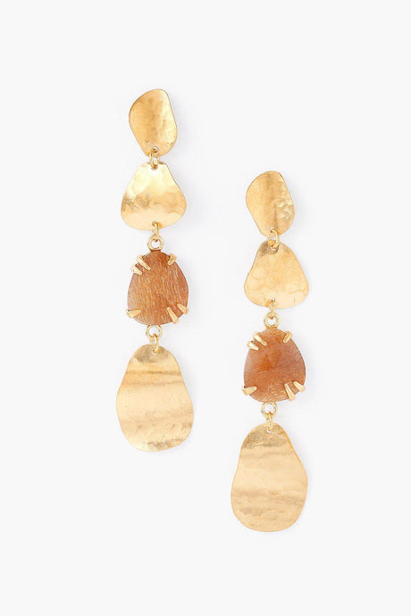Tiered Golden Sunstone Matisse Earrings