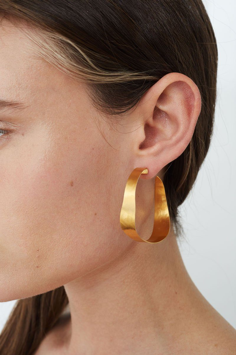 Gold Sabre Hoop Earrings