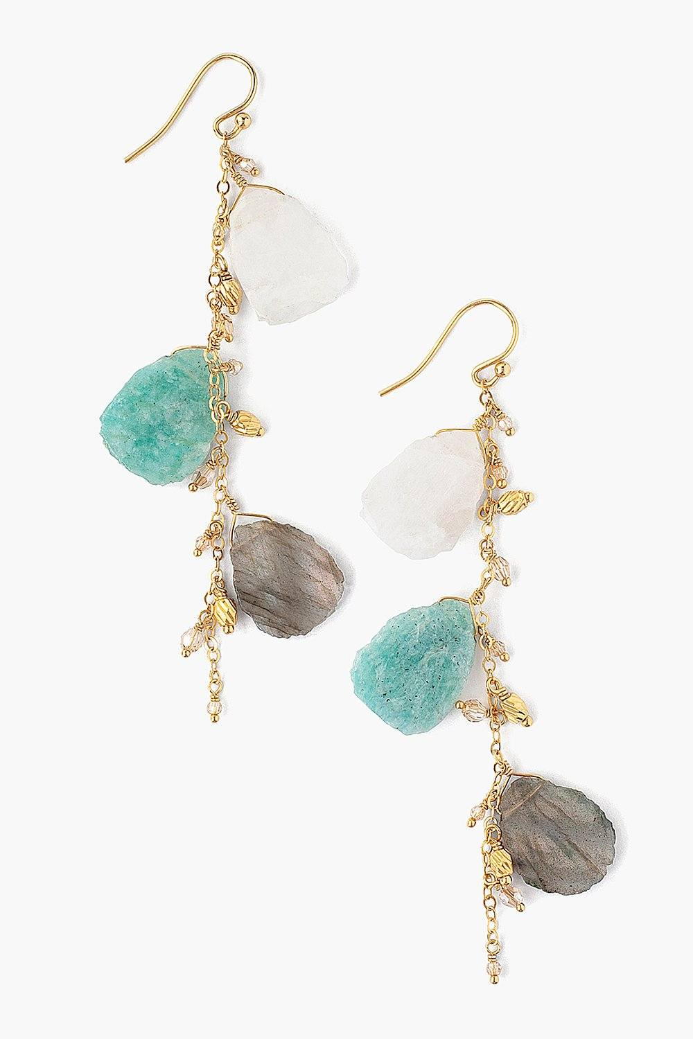 Sliced Labradorite Mix and Crystal Earrings