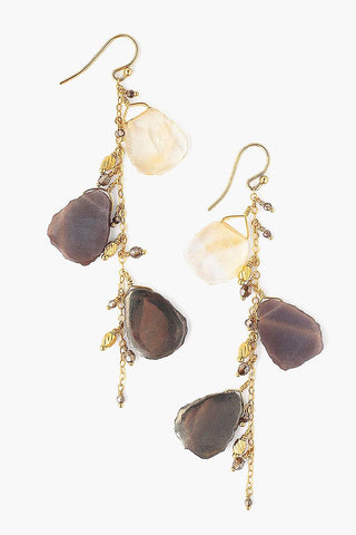 Sliced Pyrite Mix and Crystal Earrings