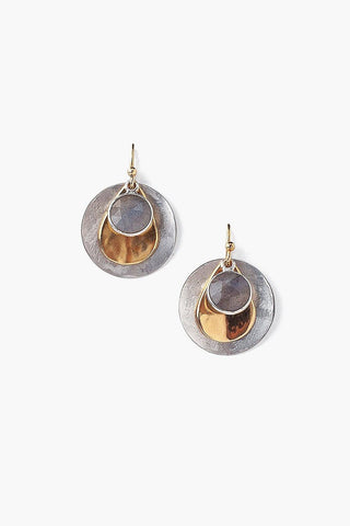 Labradorite Coin Drop Earrings
