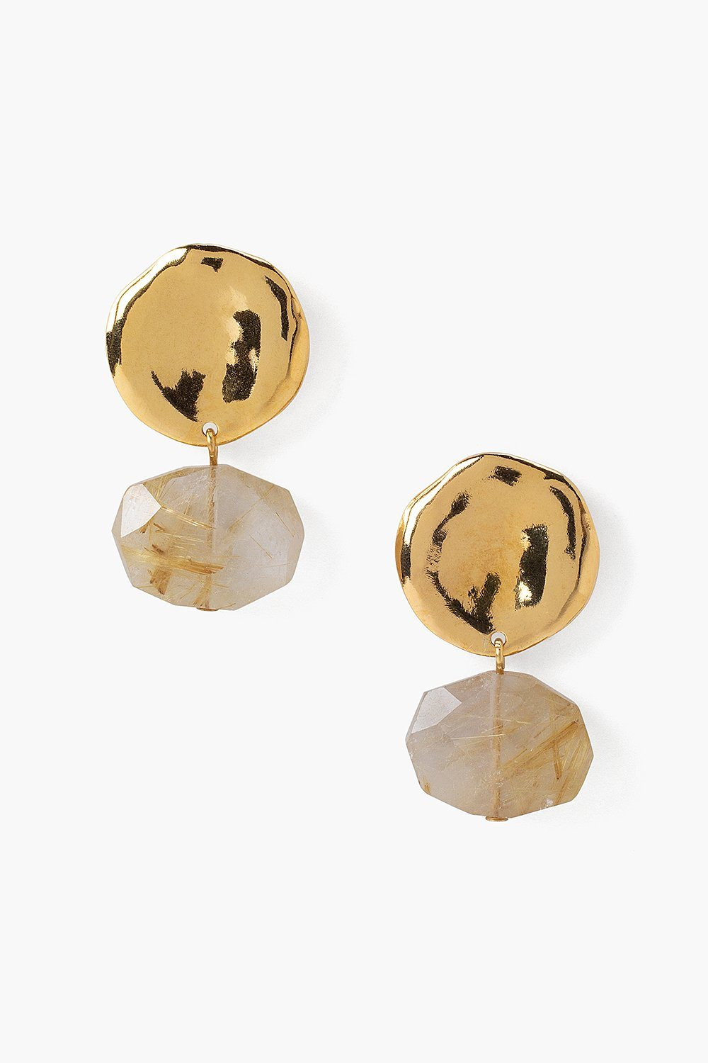 Two Tiered Rutilated Quartz and Gold Earrings