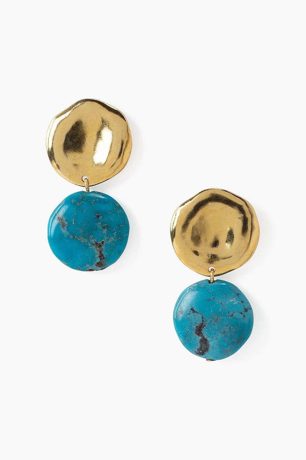 Two Tiered Turquoise and Gold Earrings