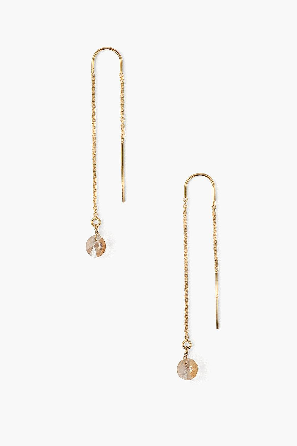 Golden Crystal Thread Thru Earrings