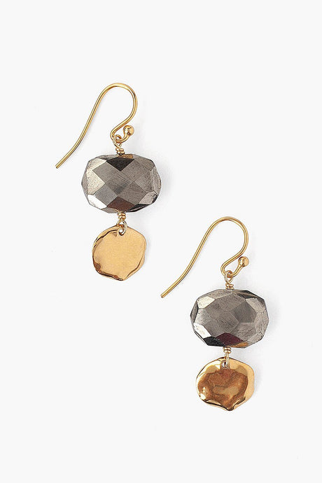 Tiered Pyrite Earrings