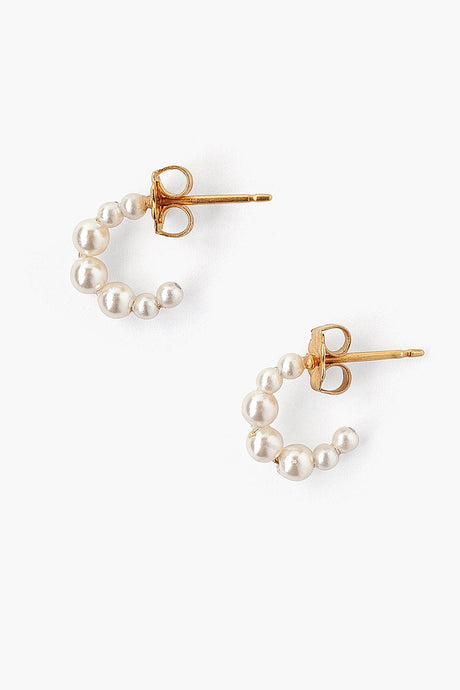 Petite Cream Pearl Holly Hoop Earrings