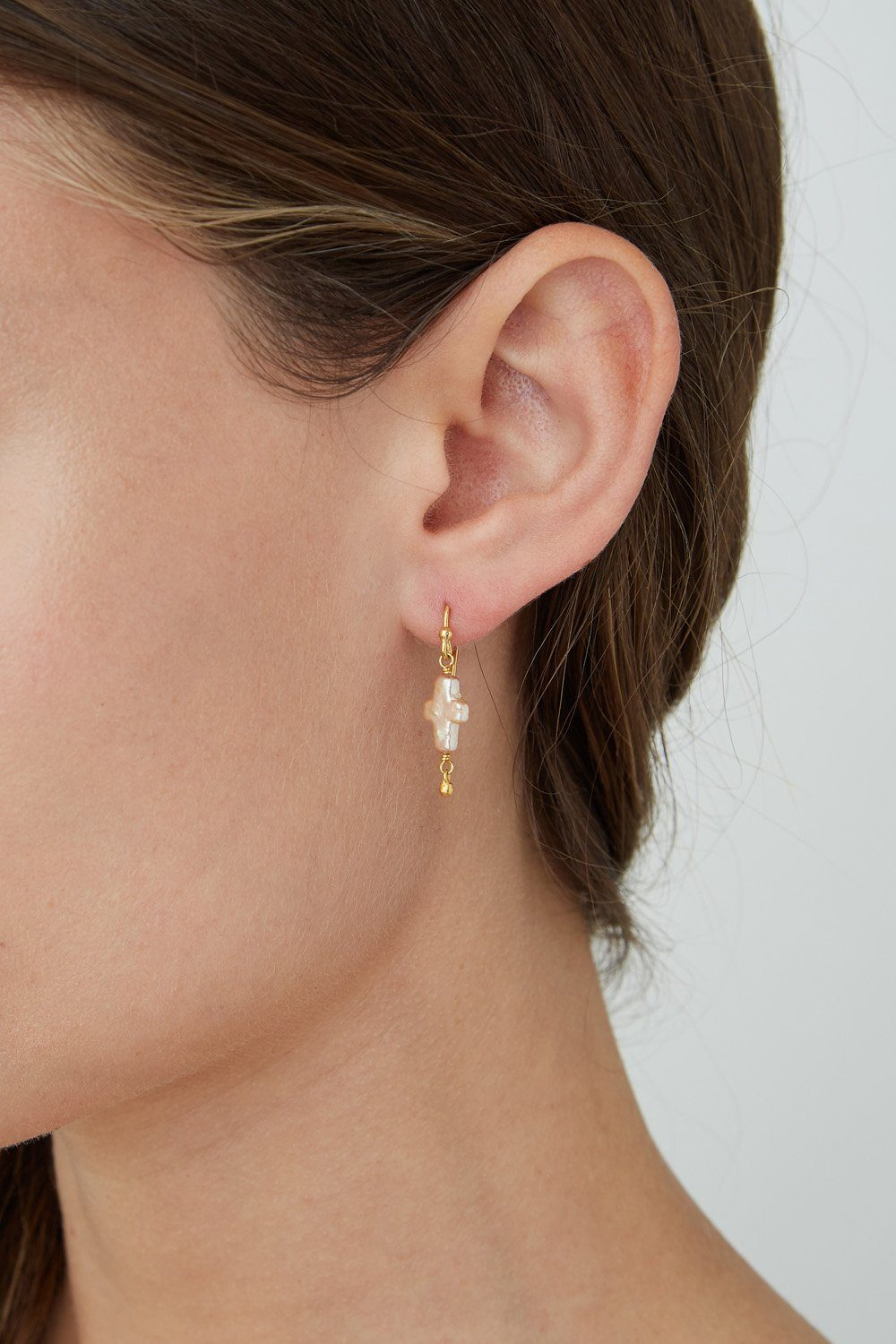Champagne Pearl Mini Cross Earrings