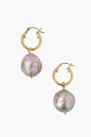 Dark Champagne Baroque Pearl Hoop Earrings