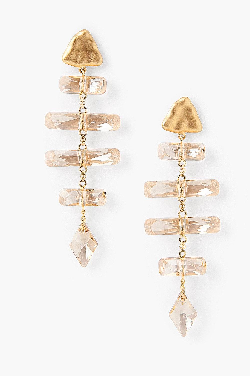 Golden Crystal Fishbone Earrings