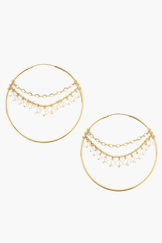 White Pearl Multi-Chain Hoop Earrings