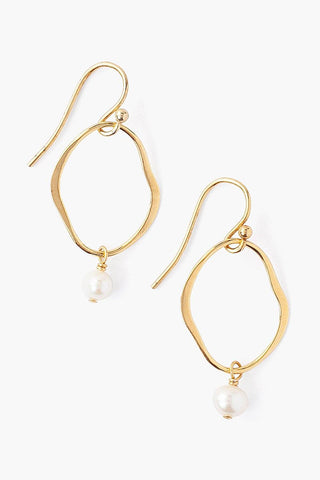 White Pearl and Gold Matisse Earrings