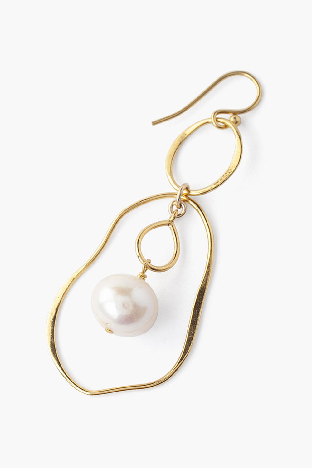 Tiered White Pearl and Gold Matisse Earrings