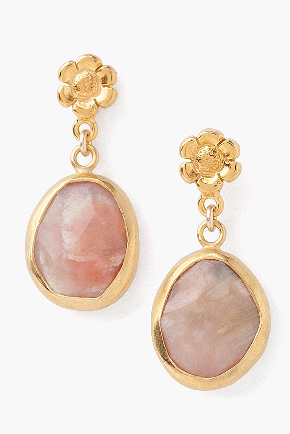 Tiered Flower and Pink Opal Earrings