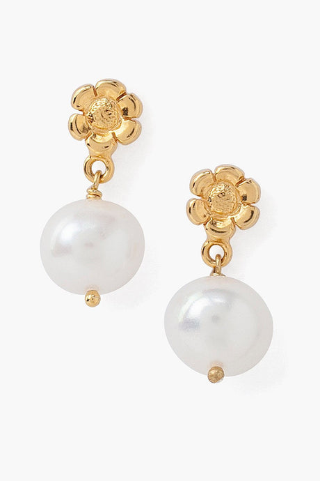 Tiered Flower and White Freshwater Pearl Earrings