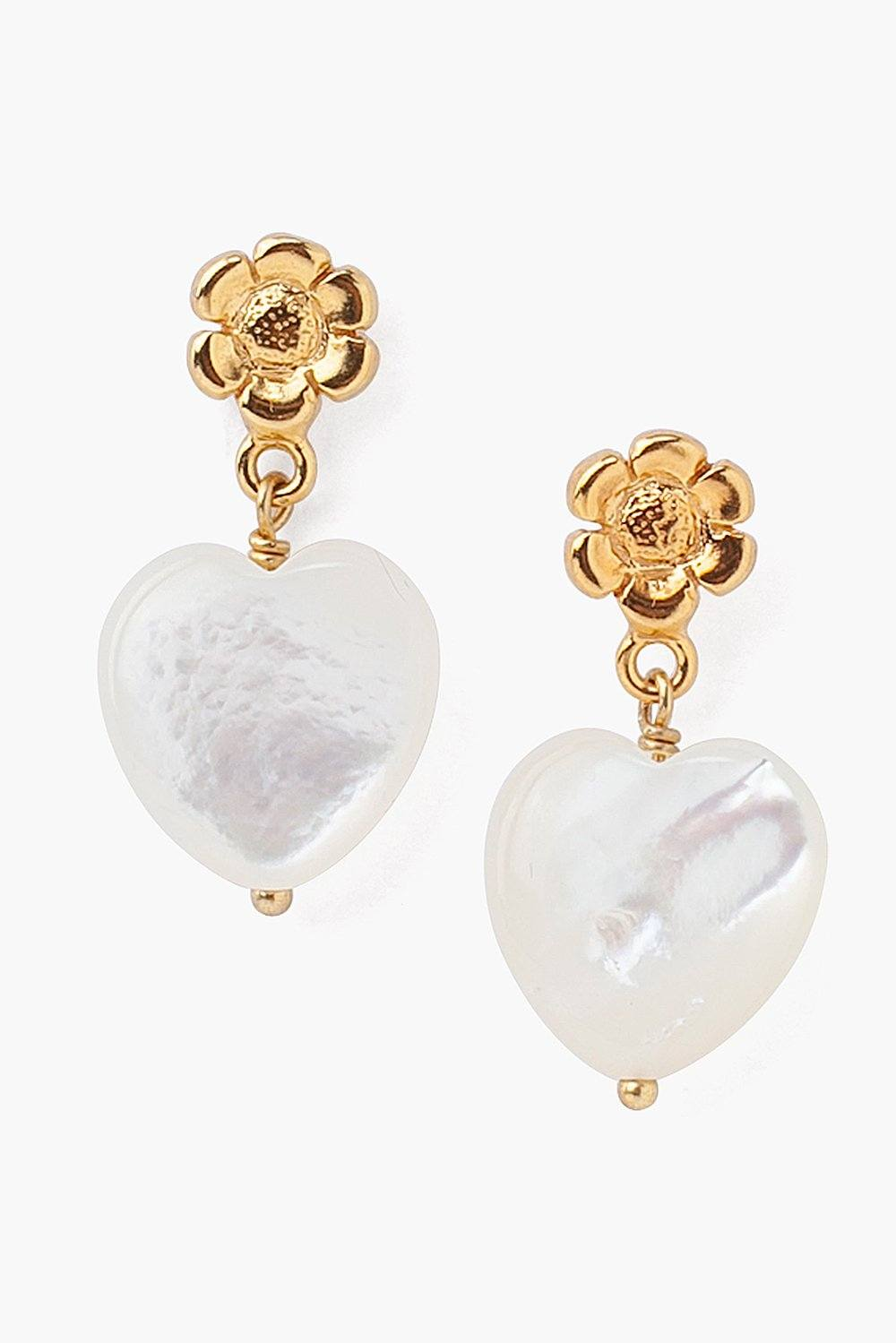 Tiered Flower and White Mother of Pearl Heart Earrings