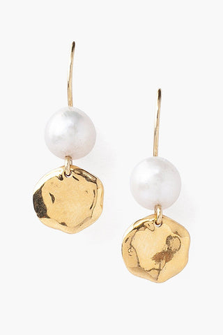 Tiered White Pearl and Coin Earrings
