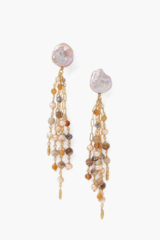 Tiered Pink Pearl and Chain Earrings