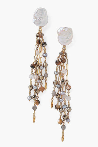 Tiered White Pearl and Chain Earrings