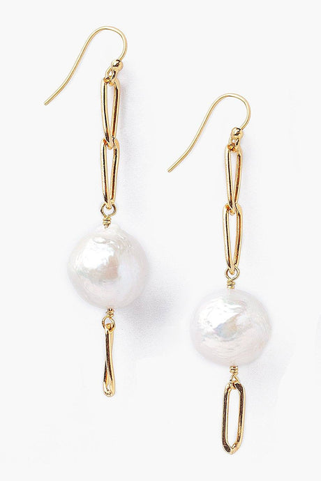 Baroque Pearl Gold Box Chain Earrings