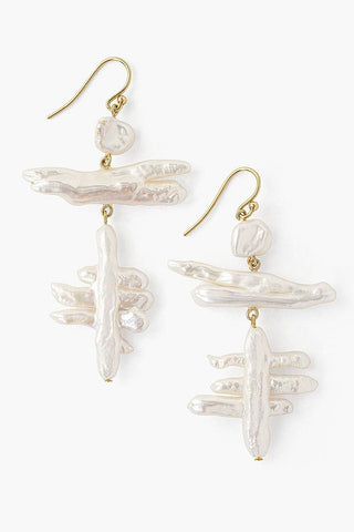 Tiered White Pearl Fishbone Earrings