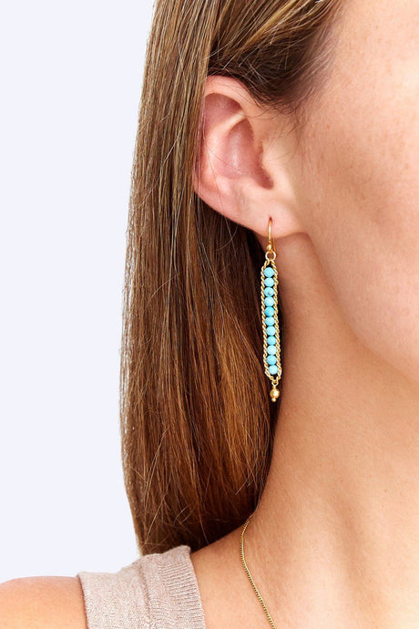 Turquoise Chain Wrap Earrings