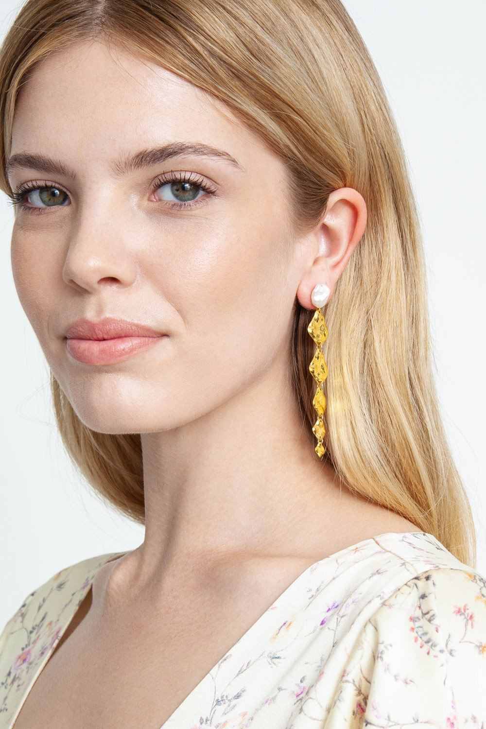 Six Tiered Gold and White Pearl Earrings