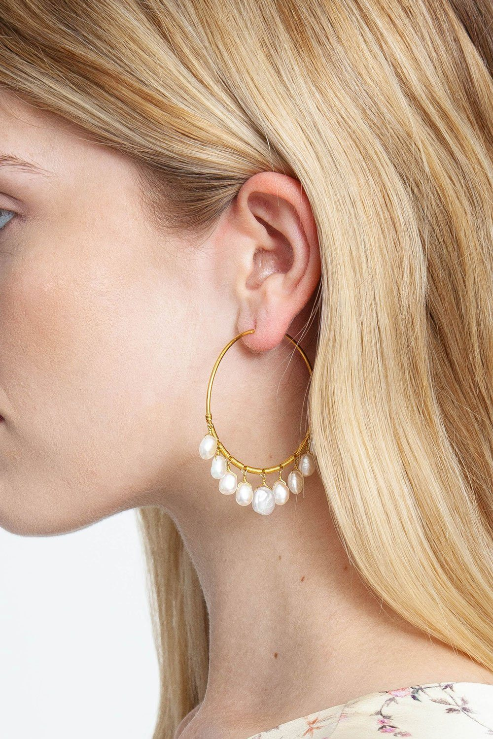 White Keshi Pearl Hoop Earrings