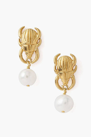 Tiered Beetle and White Pearl Earrings