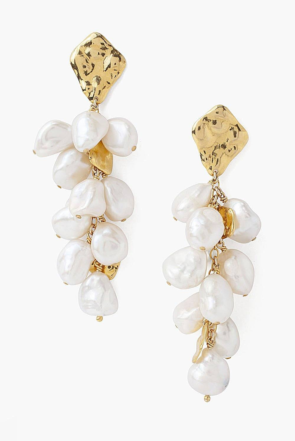 Gold and White Pearl Cluster Earrings