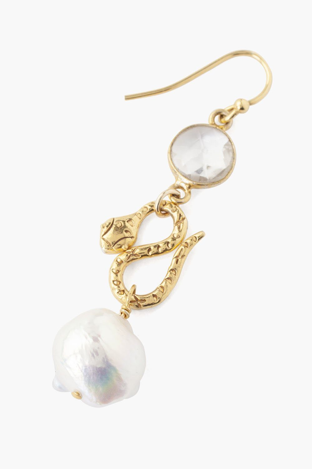 Tiered Snake and Clear Quartz Earrings