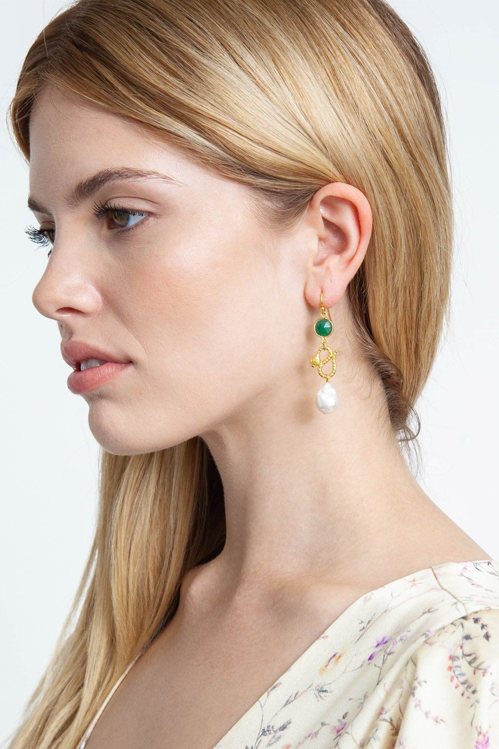 Tiered Snake and Indian Aventurine Earrings