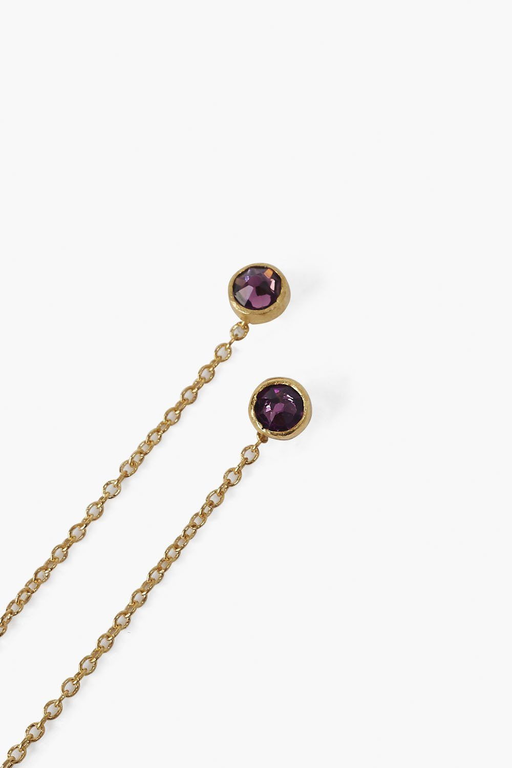 February Amethyst Birthstone Thread Thru Earrings