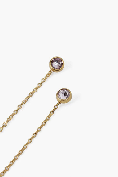 June Light Amethyst Birthstone Thread Thru Earrings