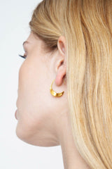 Petite Gold Crescent Moon Hoops