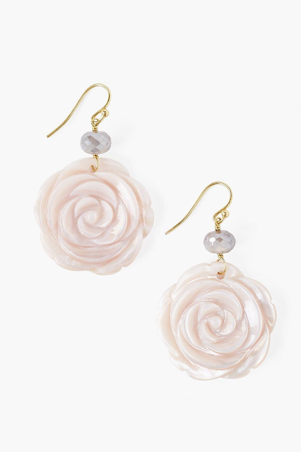 Carved Mother of Pearl Flower Earring