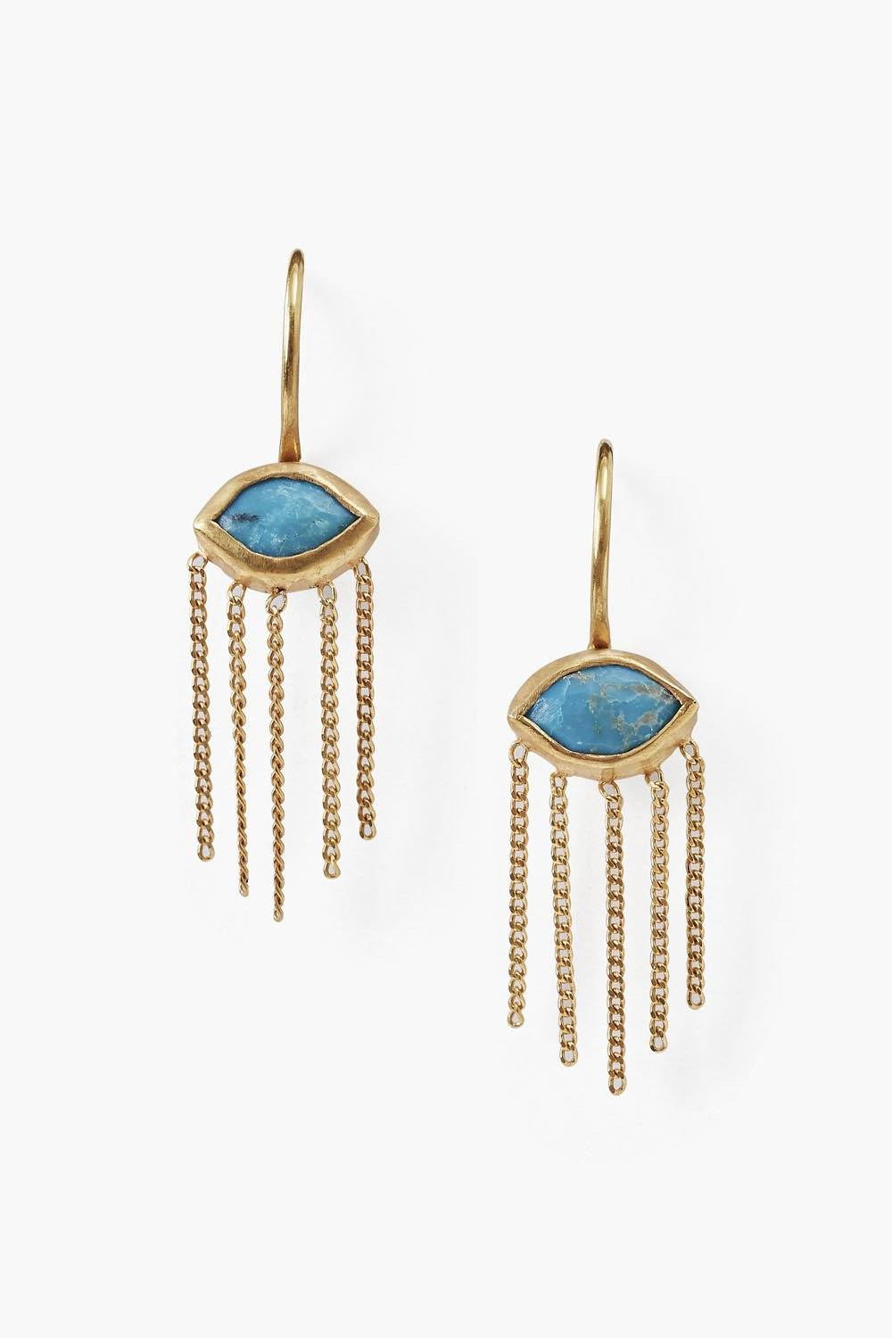 Petite Turquoise Crying Evil Eye Earrings
