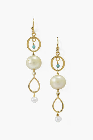 Yellow Pearl Tiered Earring