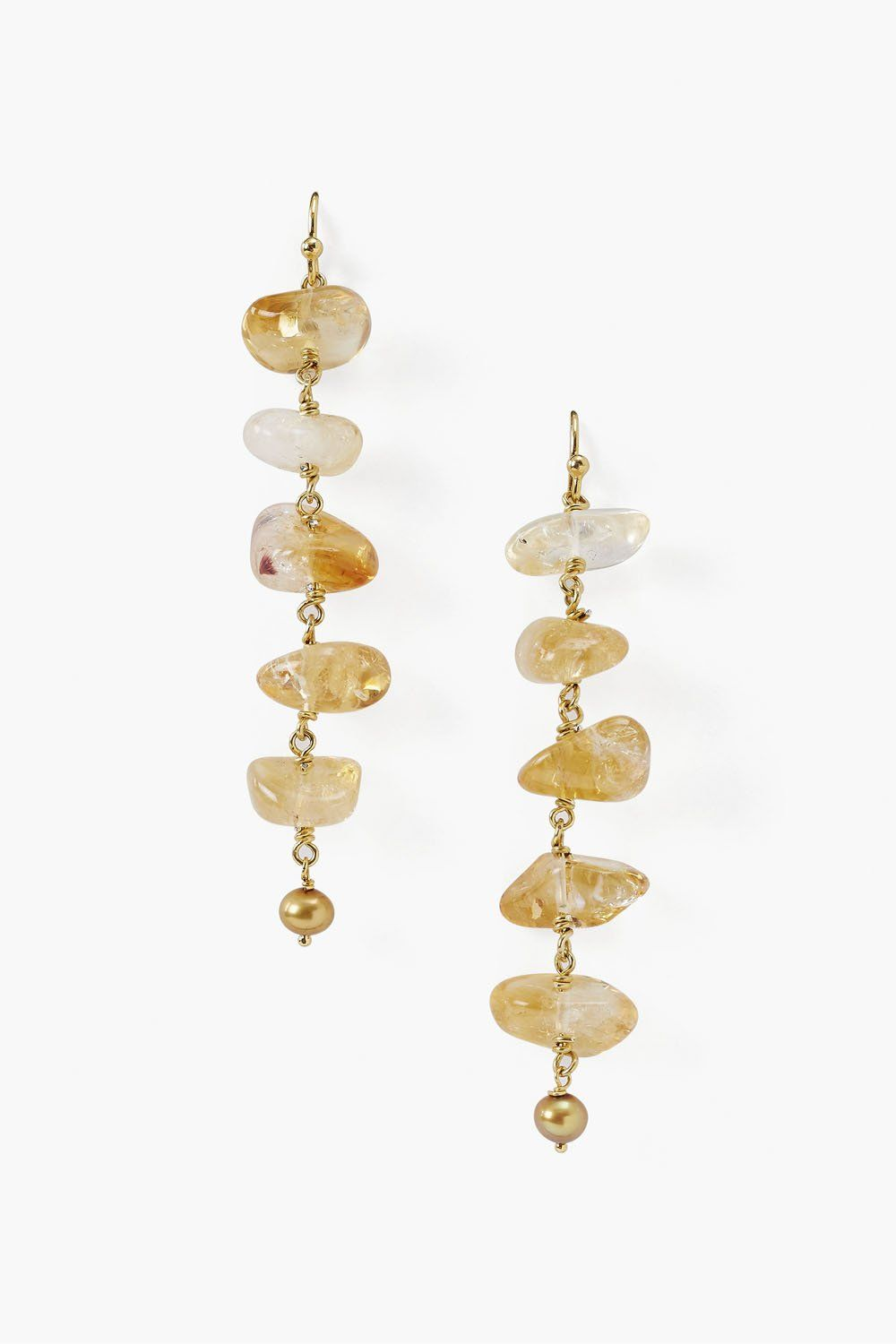 Citrine Ladder Drop Earrings