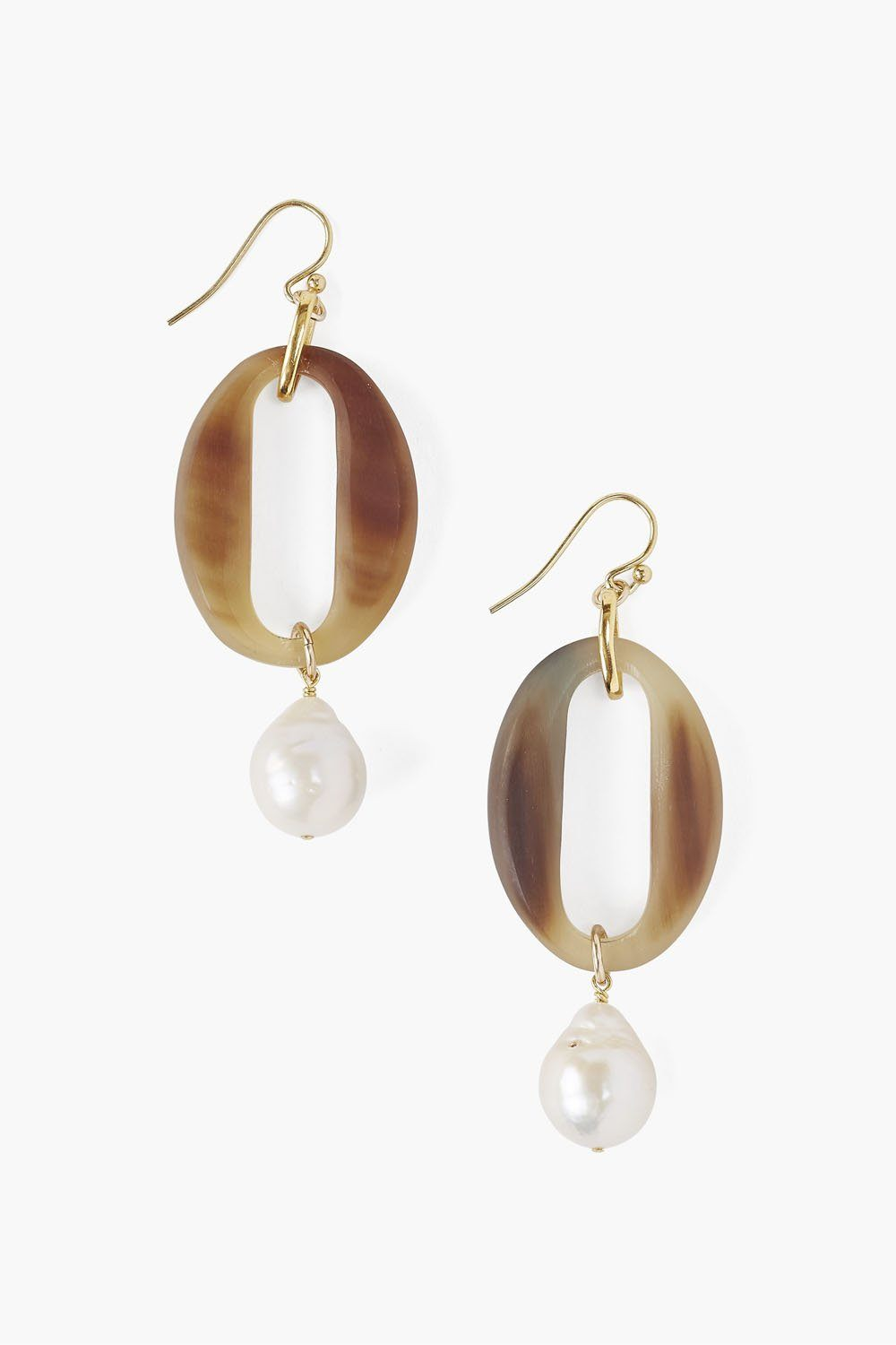White Horn and Pearl Drop Earrings