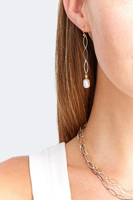 Gold Mix Chain Link Pearl Earrings